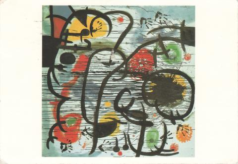 An abstract painting with lines, shapes and chaos, by Joan Miró.